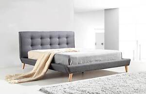 ON SALE - Double Linen Fabric Deluxe Bed Frame Grey Melbourne CBD Melbourne City Preview