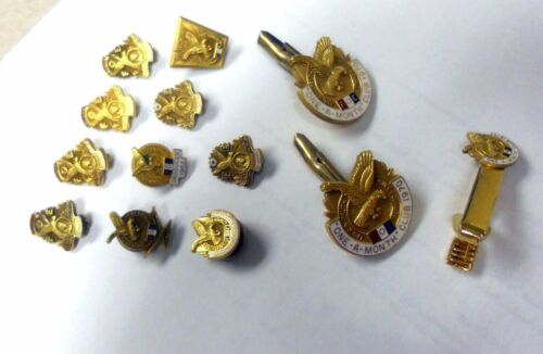 FOE Fraternal Order of Eagles Vintage Collection 13  Pins Cuff Links and Tie Bar
