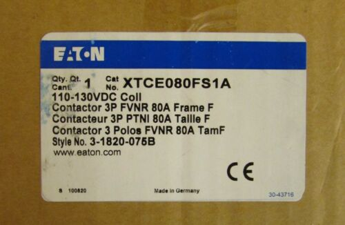 EATON CUTLER HAMMER Contactor 110/130VDC 3Pole 80 Amp XTCE080FS1A
