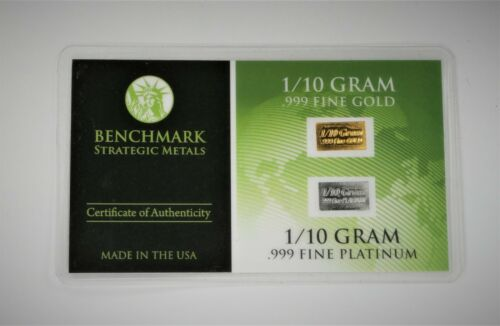 1/10 Gram Gold & Platinum Bar COMBO 999 Fine Bullion Bars in sealed certcard a4