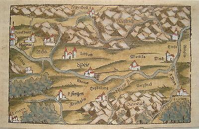 Rheinland-Pfalz Heidelberg Seb. Münster prachtvoll kolorierter Holzschnitt 1552