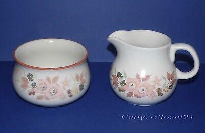 BOOTS Hedge Rose * Pottery Milk Jug / Creamer & Sugar Bowl *