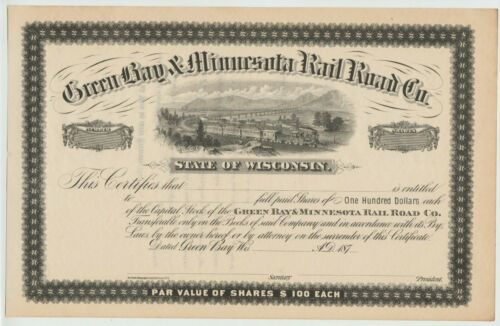 Green Bay & Minnesota Railroad Co. Stock Certificate Wisconsin