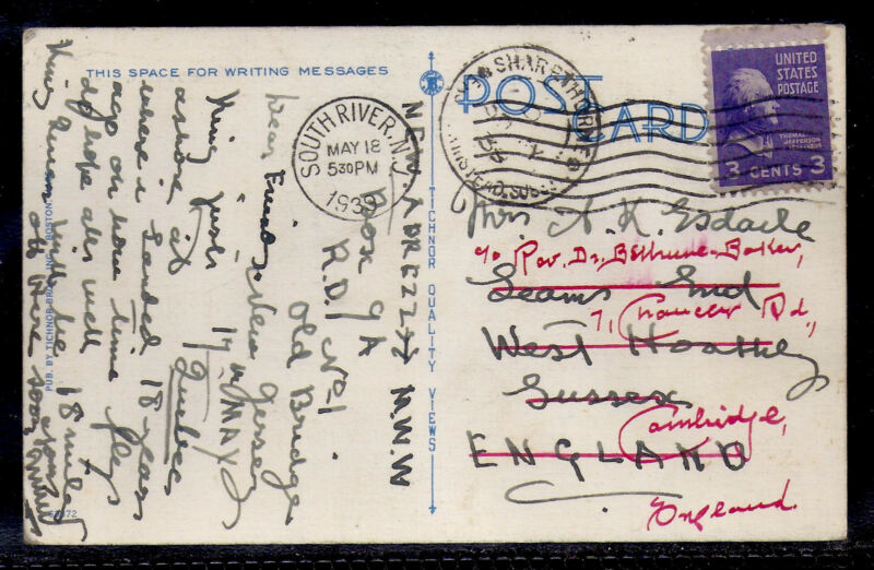 1939 South River, New Jersey to Sussex, England - Forwarded to Cambridge
