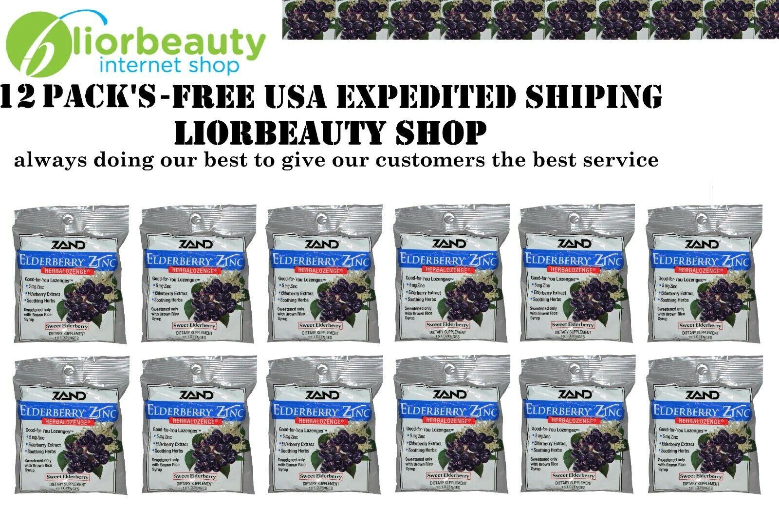 12 PACK'S-Zand, Elderberry Zinc, Herbalozenge, Sweet Elderberry, 15 Lozenges