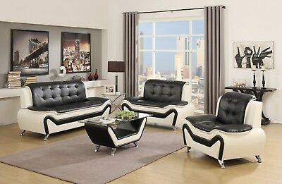 - US Pride Furniture Wanda Modern Bonded Leather Sofa Set, Black & White