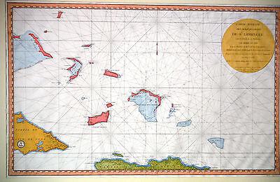 1787 Map of Caribbean No.2 Carte Réduite des débouquements de St. Domingue, RARE