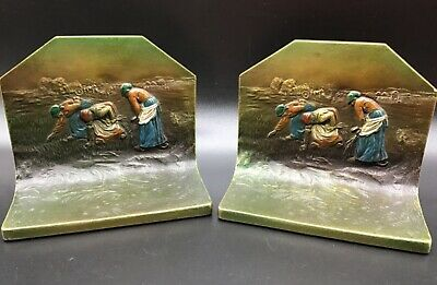 Antique Polychrome Brass Bookends Women in Field Farmers Harvest Pair K & O Co.