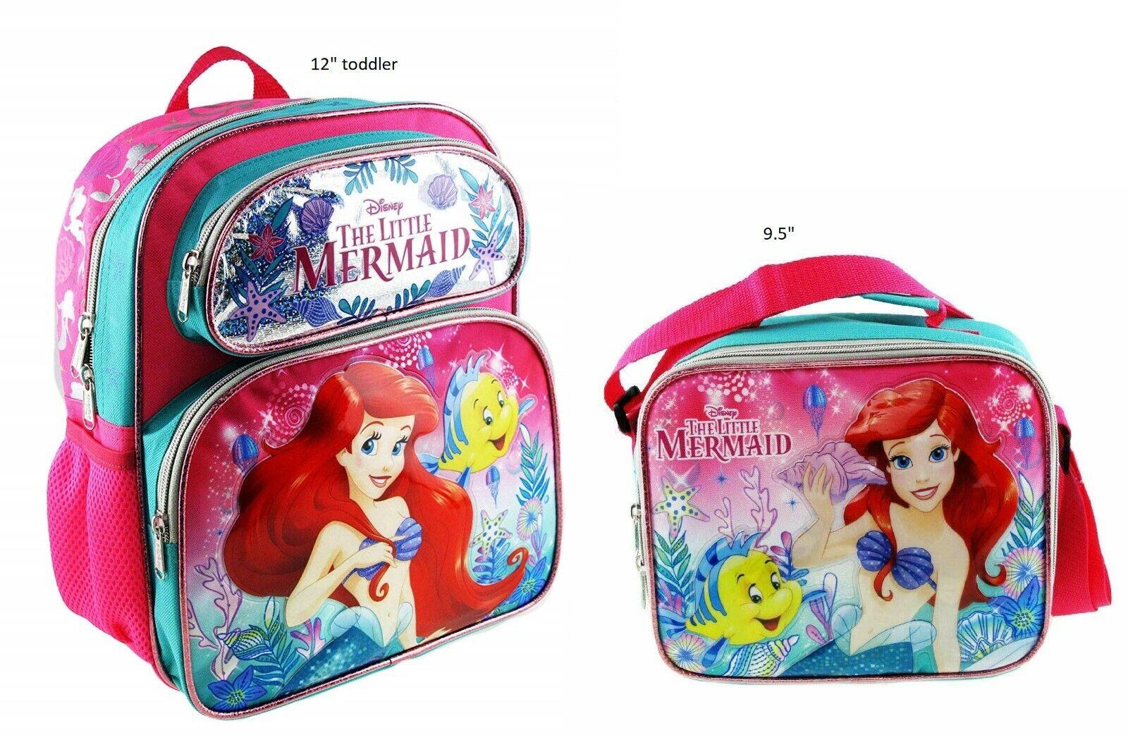 "Disney The Little Mermaid Ariel 12"" Pink Small School Backpa"