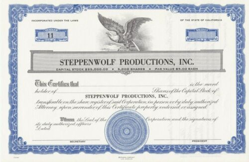 STEPPENWOLF PRODUCTIONS UNISSUED STOCK CERTIFICATE RARE ENTERTAINMENT MUSIC