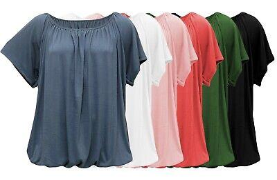 SHIRTS - Kurzarm Basic-Shirt mit Raffbund - Sommer-Shirt - luftig leicht locker Bund Shirt