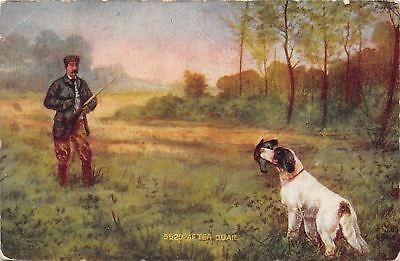 """After Quail"" Bird Dog Brings Fowl to Hunter~Spaniel~Man With Gun~Artist 1908"