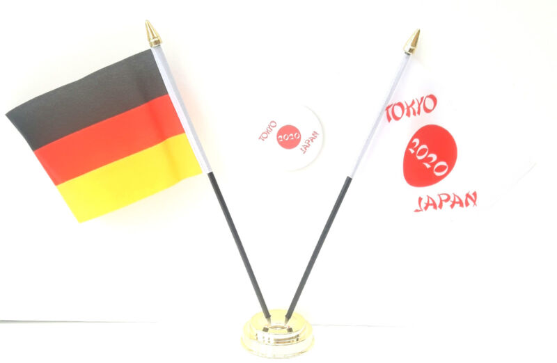 Allemagne & Tokyo Japon Jeux Olympiques 2020 Bureau Drapeaux & 59mm Lot de