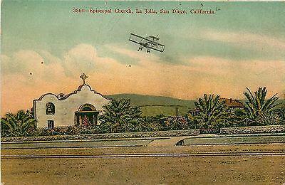 California  Ca  San Diego  Episcopal Church  La Jolla 1910S Postcard Airplane