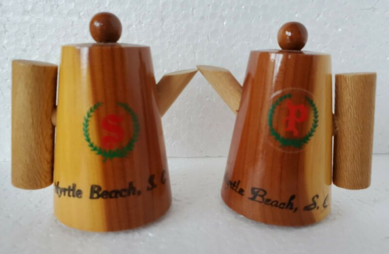 Vtg Wooden Coffee Pot Myrtle Beach, S.C. Salt and Pepper Shakers Souvenirs