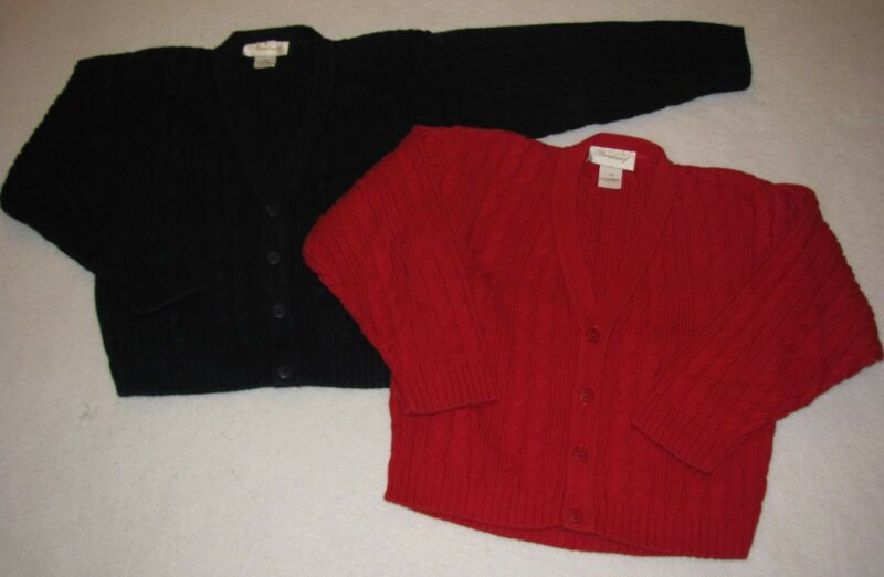 Boys STRASBURG Cable Cardigan Sweater 5 Yrs Red Navy Blue HOLIDAY Dressy EUC