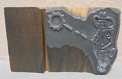 Vintage Cowboy Shooting Metal Wood Letterpress Printing Block Type