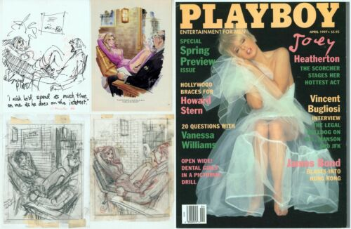 3 Doug Sneyd Signed Original Art Sketch Playboy OKed Hugh Hefner / April 1997