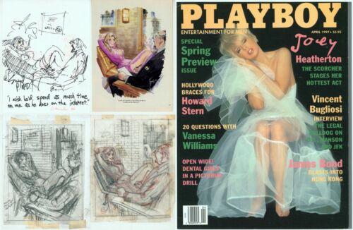 3 Doug Sneyd Signed Original Art Sketch Playboy OKed Hugh Hefner / April 1997