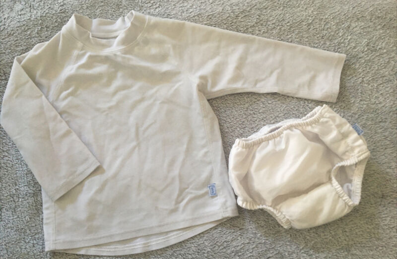 Iplay White Reusable Swim Diaper Sz 12 Mos 18-22 Pounds w Swim Shirt Lot