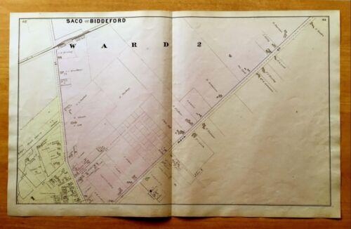 Original Antique 1872 Map SACO & BIDDEFORD ME Ward 2 Maine VERY DETAILED