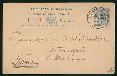 Mayfairstamps Singapore 1890s Straits Settlements to Germany Stationery Card wwo