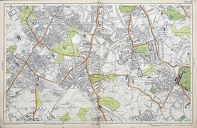 LONDON, 1924 - NORWOOD, TOOTING, STREATHAM  - Original Old Street Map, Bacon.