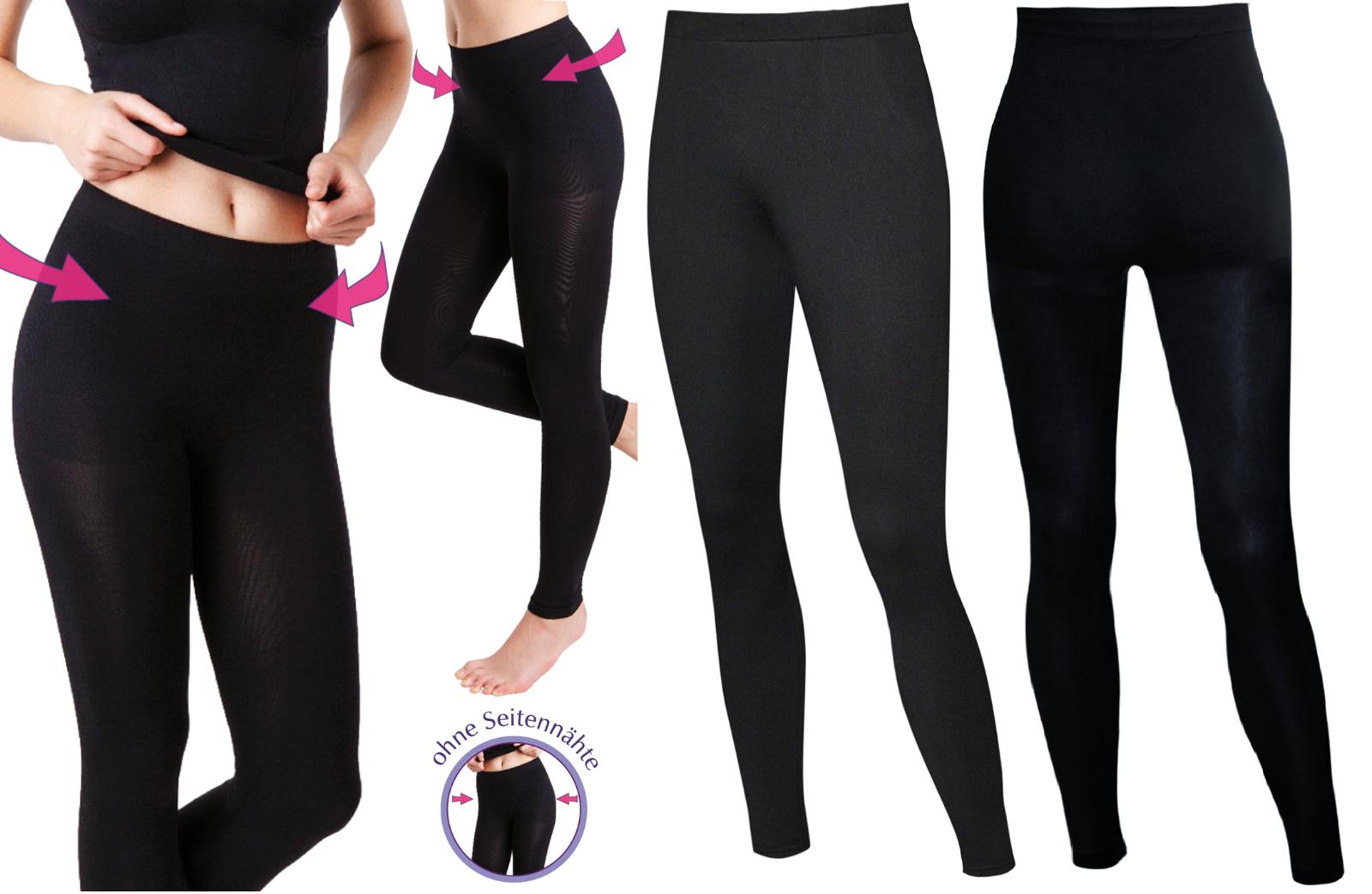 Damen Leggings Leggins schwarz schwarze blickdichte Seamless nahtlos formgebend