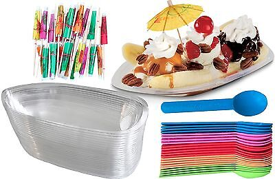 Outside the Box Papers Clear Plastic Banana Split Boats 12 oz, Spoons, - Clear Plastic Bowl