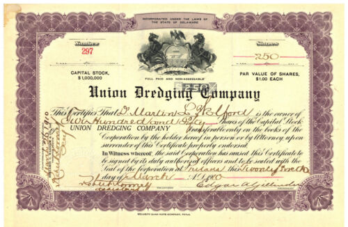 Union Dredging Company. Stock Certificate