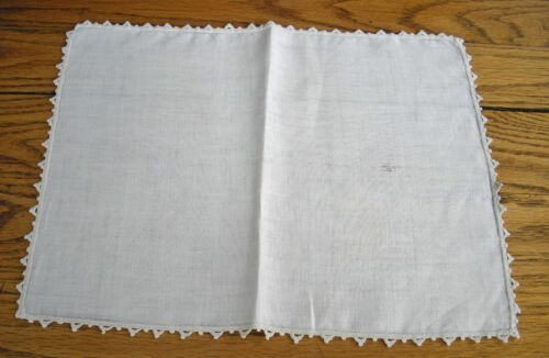 "Vintage Off-White Linen 11"" x 15"" Table Scarf ~"