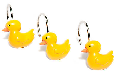 Classic Yellow Rubber Ducky Hand Crafted Bathroom Shower Curtain Hooks Set of 12 Bath