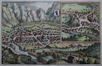 Appenzell - Herissaw - Appenzell und Herisau - Merian - Kupferstich von 1641