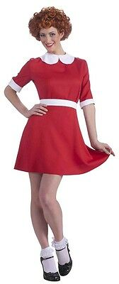 Annie Musical Little Orphan Girl Movie Fancy Dress Up Halloween Adult Costume