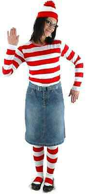 Wenda Where's Waldo Striped Shirt Hat Glasses Dress Up Halloween Adult Costume (Halloween Costumes Waldo)