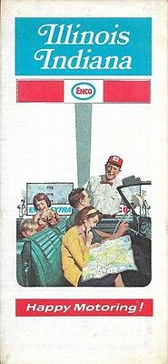 1972 ENCO HUMBLE OIL Road Map ILLINOIS INDIANA Fort Wayne Chicago Springfield