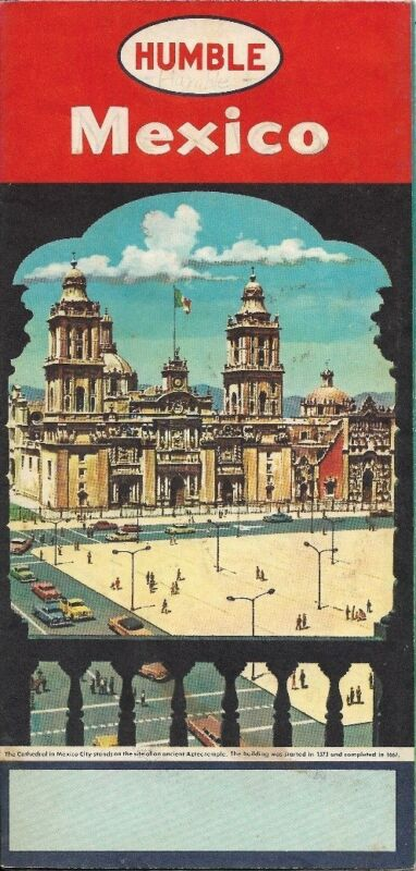 1960 HUMBLE OIL Road Map MEXICO Guadalajara Monterrey Chihuahua Cuernavaca Taxco