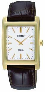 Seiko Solar Gold-Tone Leather Mens Watch SUP890P1
