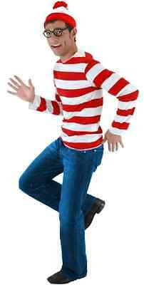 Where's Waldo Kit Striped Shirt Hat Glasses Fancy Dress Halloween Adult Costume