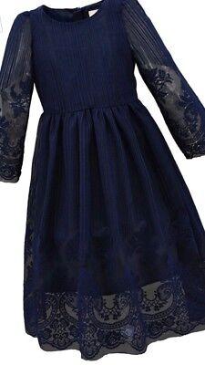 New Bonny Billy Formal Long Embroidery Lace Maxi Navy Blue Flower Girl Dress 4-5 Bonny Flower Girl