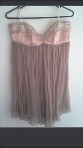 SZ12 Nude Strapless Satin & chiffon top Crestmead Logan Area Preview
