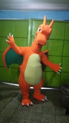 Charizard Fire Dragon Pokemon Mascot Costume Halloween Party Character Orange
