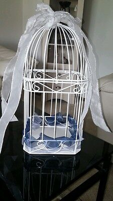 WEDDING RECEPTION BIRDCAGE CARD HOLDER**WHITE METAL RIBBONS *EXCELLENT CONDITION