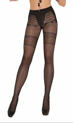 Sheer Pantyhose with Faux Lace Up Design Detail Print Hosiery Nylons - Pantyhose With Designs
