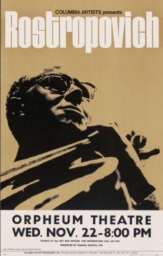 MSTISLAV ROSTROPOVICH 1972 VANCOUVER concert poster 14x22 RARE NM