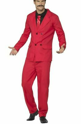 Red Zoot Suit Costume Mob Boss Gangster Mobster Adult Pin Stripes Medium - Pinstripe Suit Costume