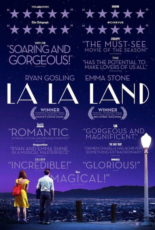 LA LA LAND MOVIE POSTER 2 Sided ORIGINAL Review 27x40 RYAN GOSLING EMMA STONE