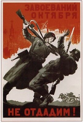 *WW2 Russian Soviet Color Propaganda  POSTER SVT-40 Mauser Soldiers Use Buy Now!