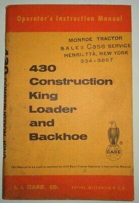 Case 23 Loader 23 Backhoe Operators Manual Original Fits 430 Ck Tractors