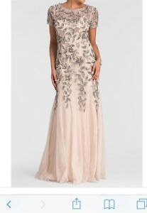 Brand new pink beige prom dress with gray beads